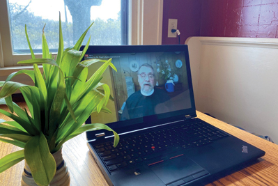 The Rev. Greg Doll leads worship online